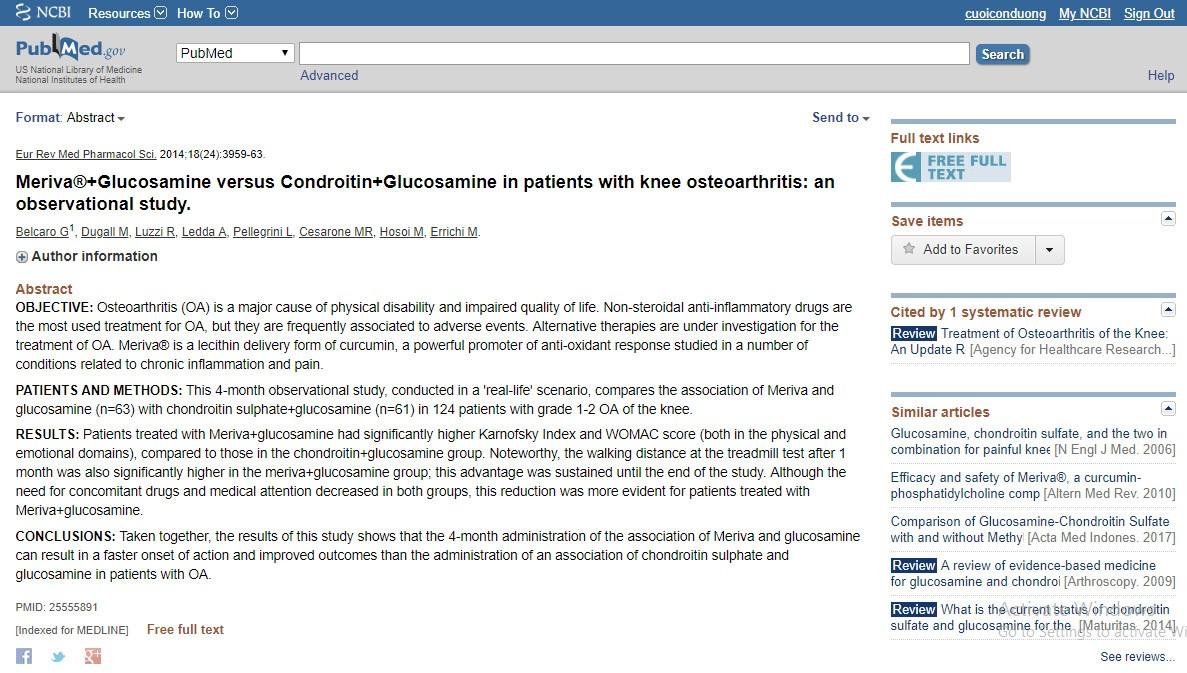 Meriva® + Glucosamine so với Condroitin + Glucosamine ở bệnh nhân viêm xương khớp gối