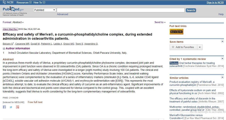 Hiệu quả và độ an toàn của Meriva® ở bệnh nhân viêm xương khớp