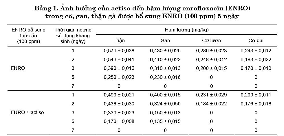 Kết quả nghiên cứu về tác dụng đào thải kháng sinh của Cao Atiso trên gà 1